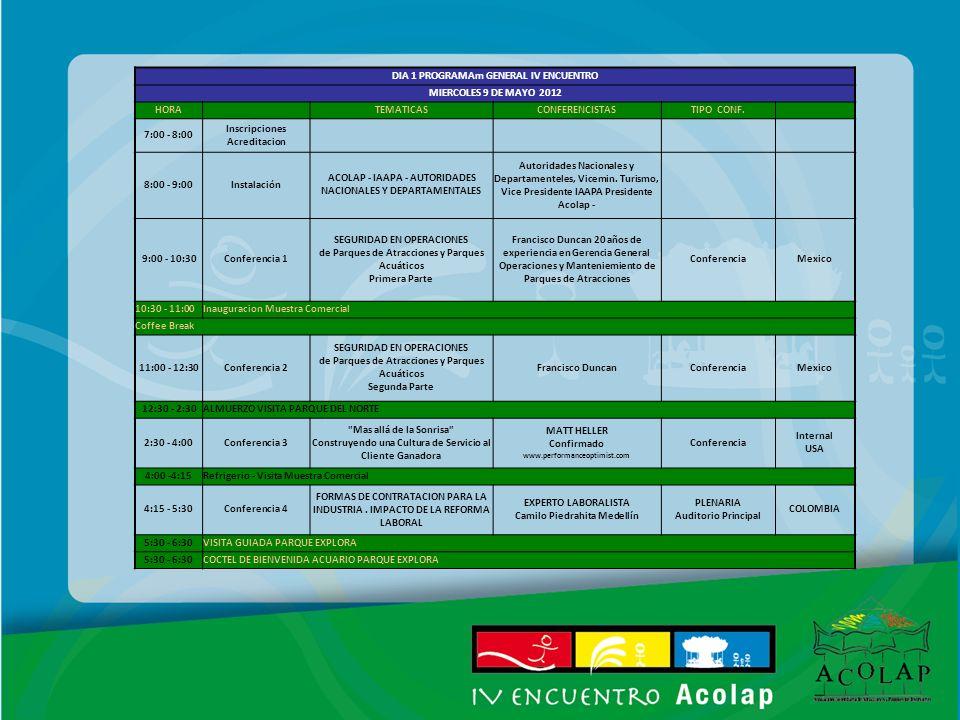 DIA 1 PROGRAMAm GENERAL IV ENCUENTRO MIERCOLES 9 DE MAYO 2012 HORA