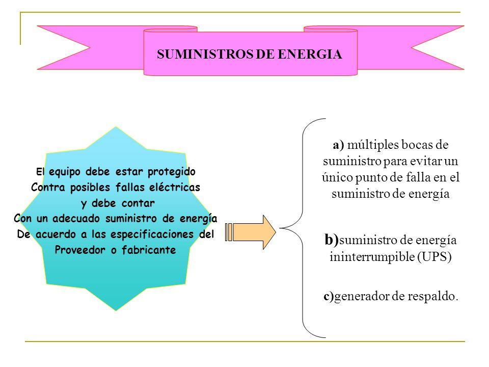 b)suministro de energía ininterrumpible (UPS)