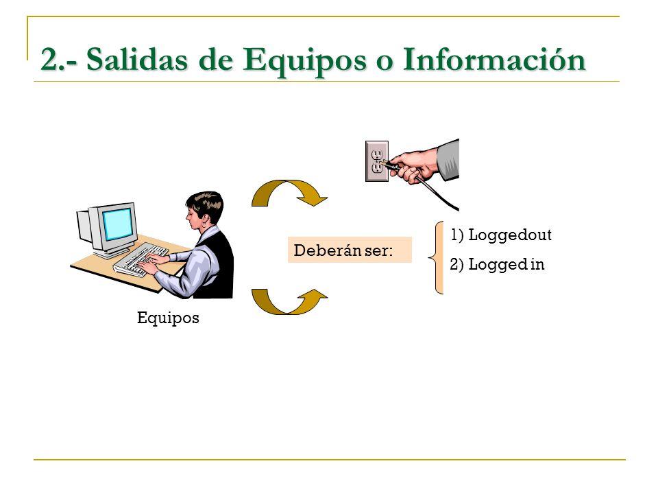 2.- Salidas de Equipos o Información