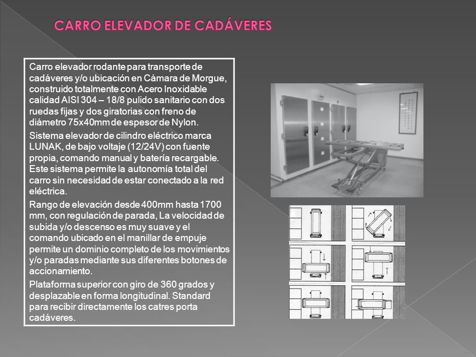 CARRO ELEVADOR DE CADÁVERES