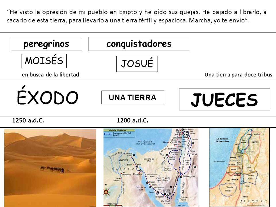 ÉXODO JUECES peregrinos conquistadores MOISÉS JOSUÉ UNA TIERRA