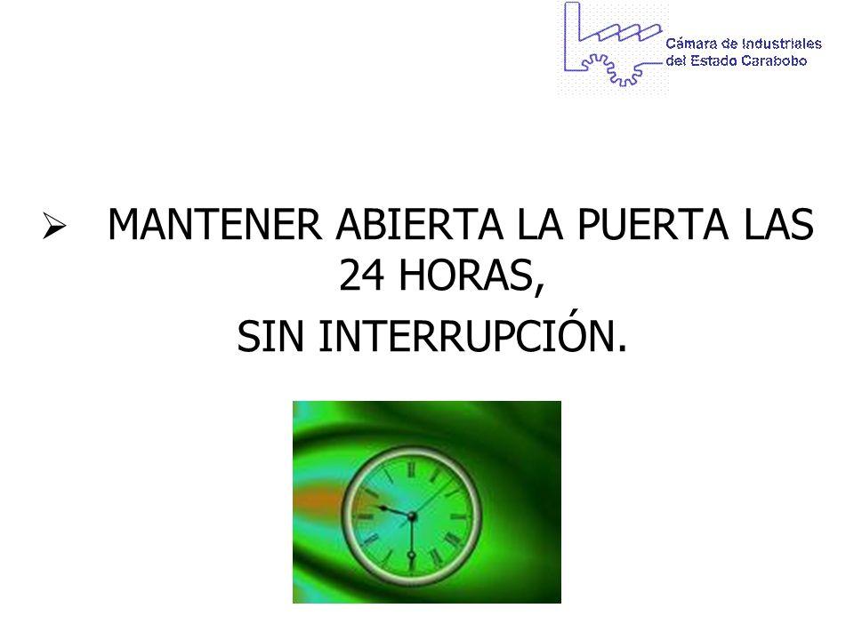 MANTENER ABIERTA LA PUERTA LAS 24 HORAS,