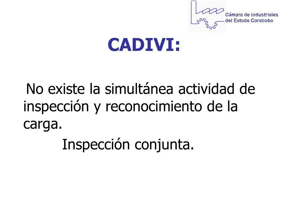 CADIVI: No existe la simultánea actividad de inspección y reconocimiento de la carga.