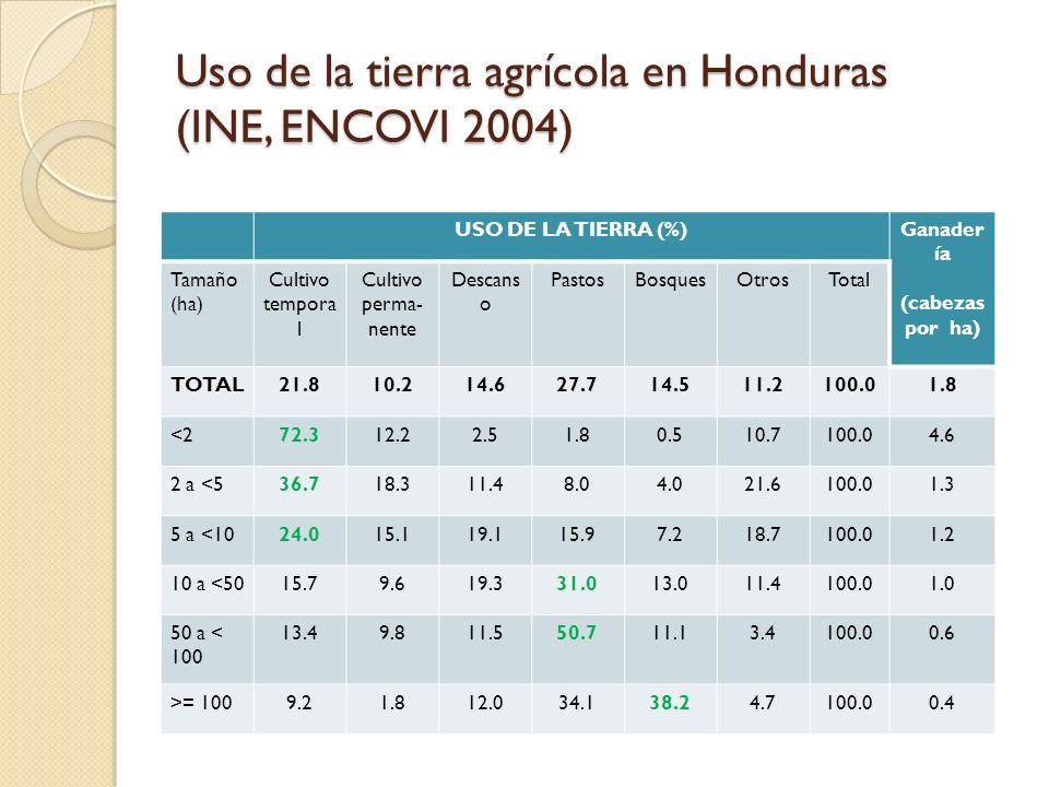 Uso de la tierra agrícola en Honduras (INE, ENCOVI 2004)