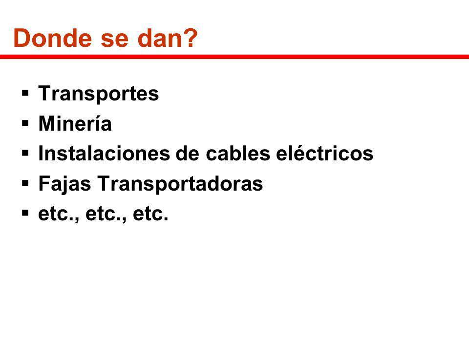 Donde se dan Transportes Minería Instalaciones de cables eléctricos