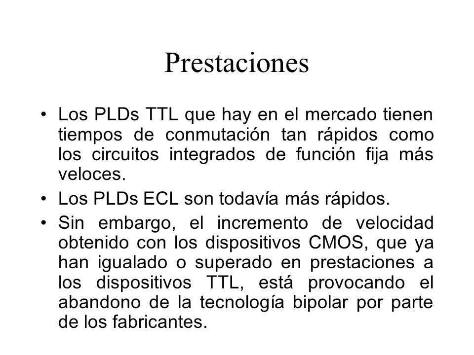 Prestaciones Los PLDs TTL que hay en el mercado tienen tiempos de conmutación tan rápidos como los circuitos integrados de función fija más veloces.