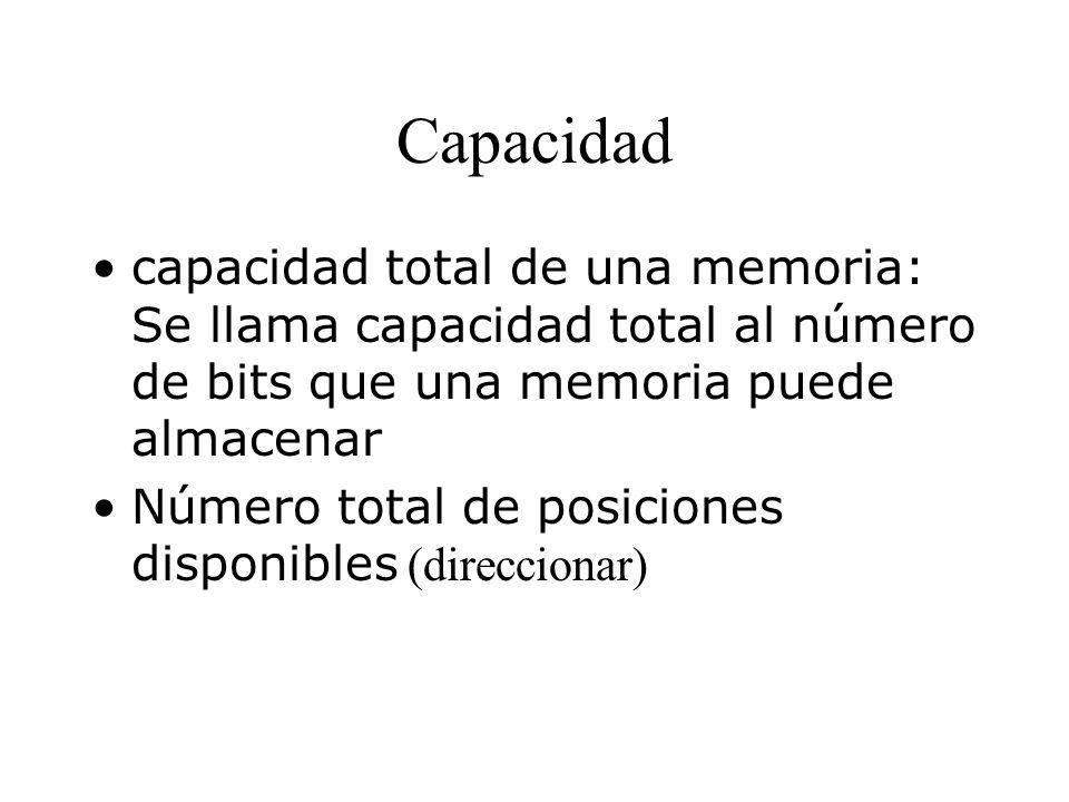 Capacidad capacidad total de una memoria: Se llama capacidad total al número de bits que una memoria puede almacenar.