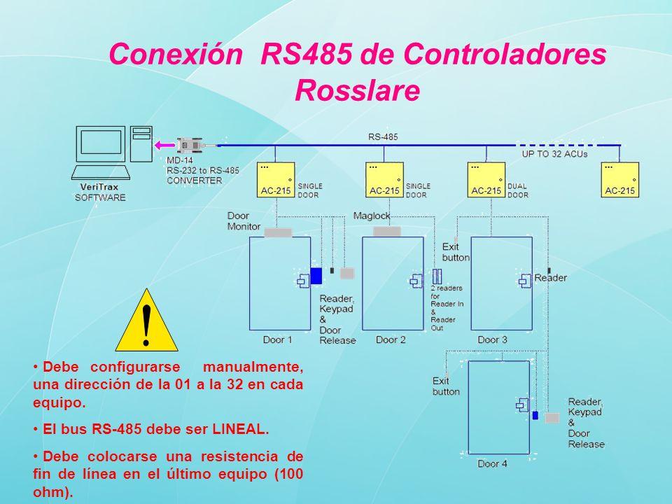 Conexión RS485 de Controladores Rosslare
