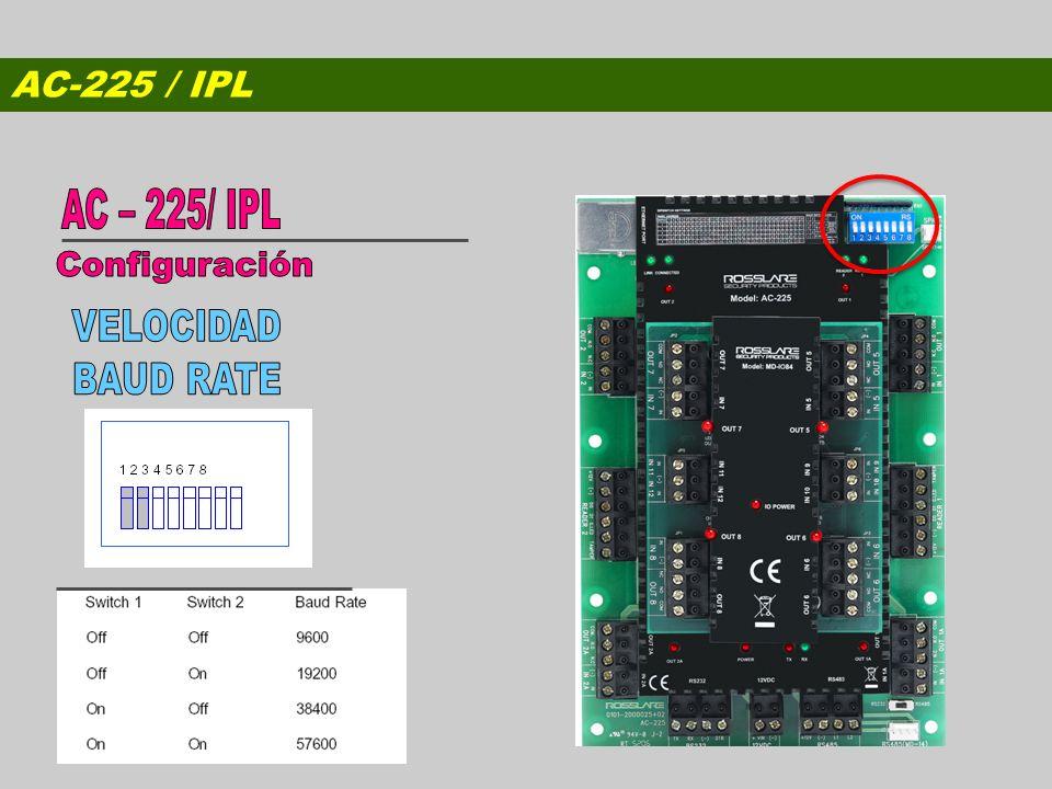 AC-225 / IPL AC – 225/ IPL Configuración VELOCIDAD BAUD RATE