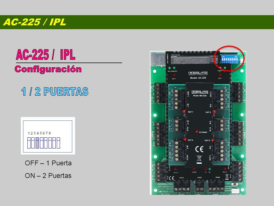 AC-225 / IPL Configuración 1 / 2 PUERTAS AC-225 / IPL OFF – 1 Puerta