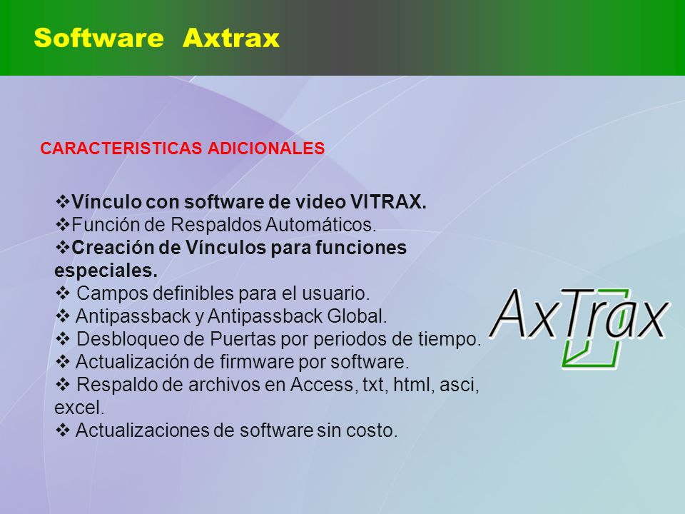 Software Axtrax Vínculo con software de video VITRAX.