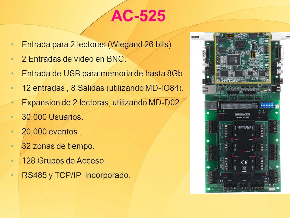 AC-525 Entrada para 2 lectoras (Wiegand 26 bits).