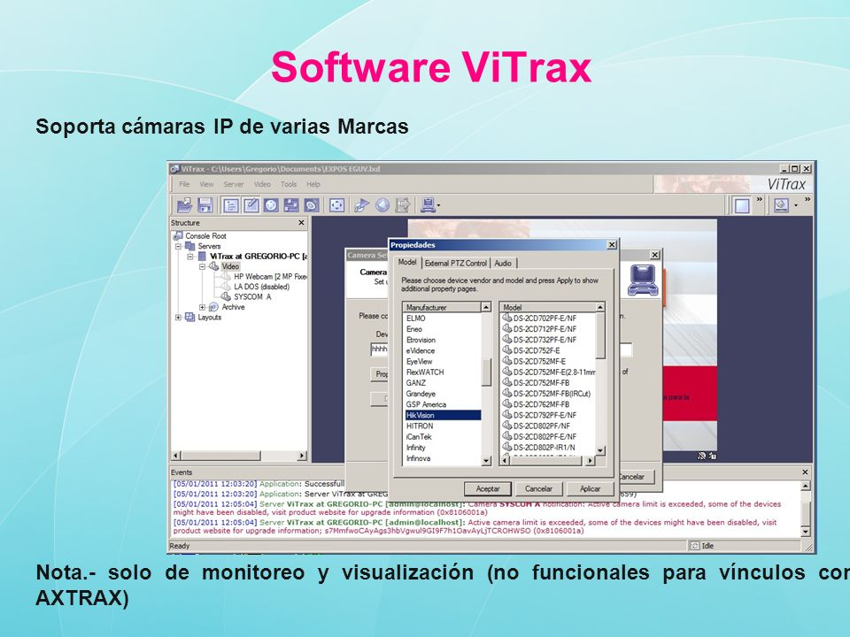 Software ViTrax Soporta cámaras IP de varias Marcas
