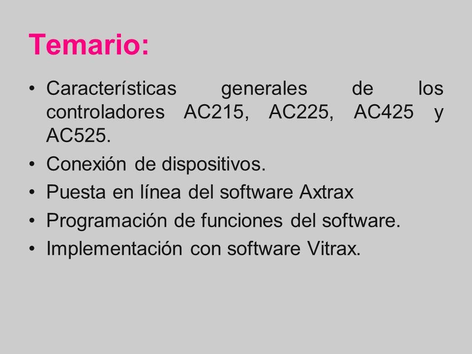 Temario: Características generales de los controladores AC215, AC225, AC425 y AC525. Conexión de dispositivos.