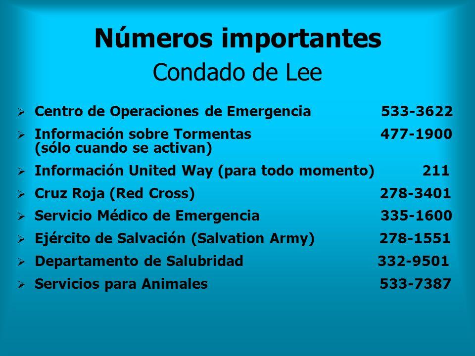 Números importantes Condado de Lee