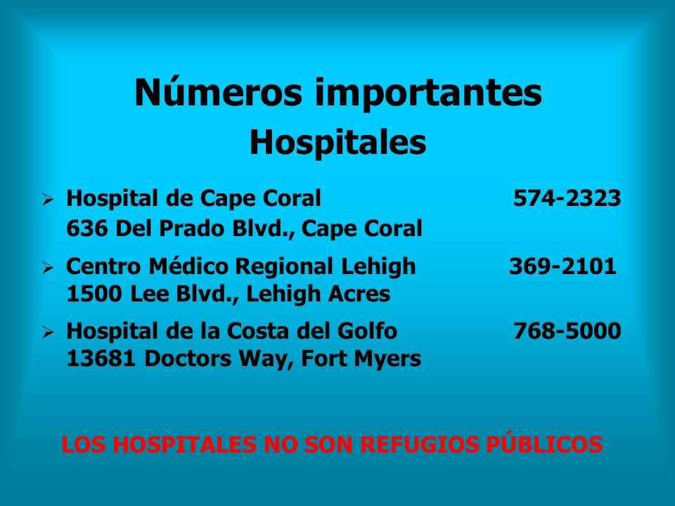 Números importantes Hospitales