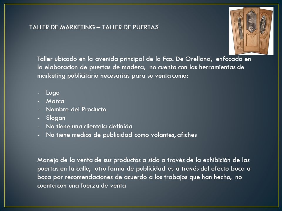 TALLER DE MARKETING – TALLER DE PUERTAS