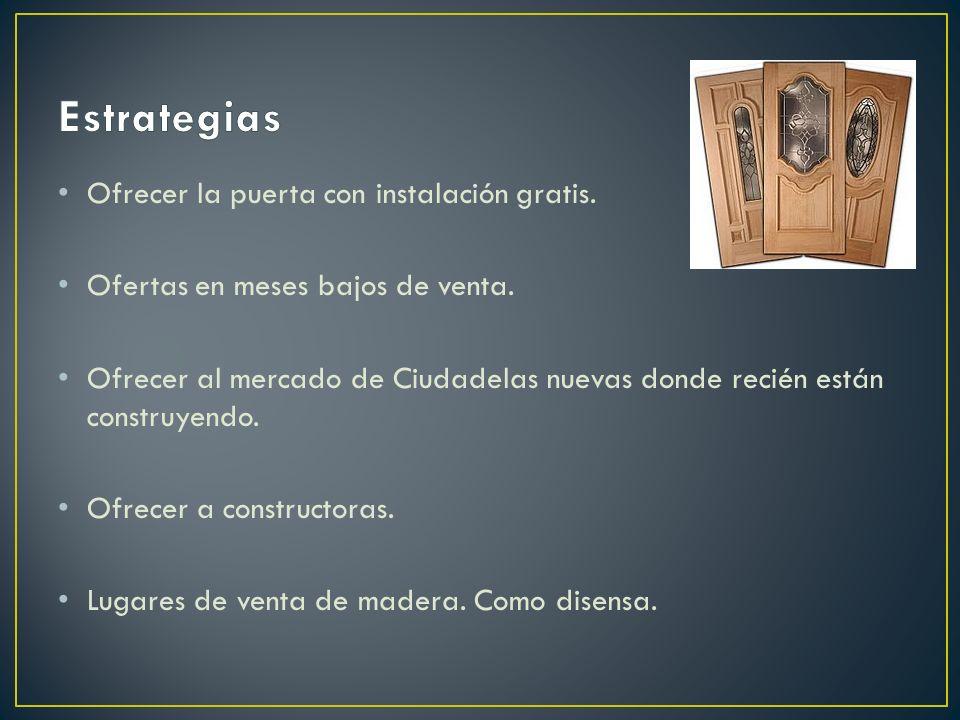 Estrategias Ofrecer la puerta con instalación gratis.