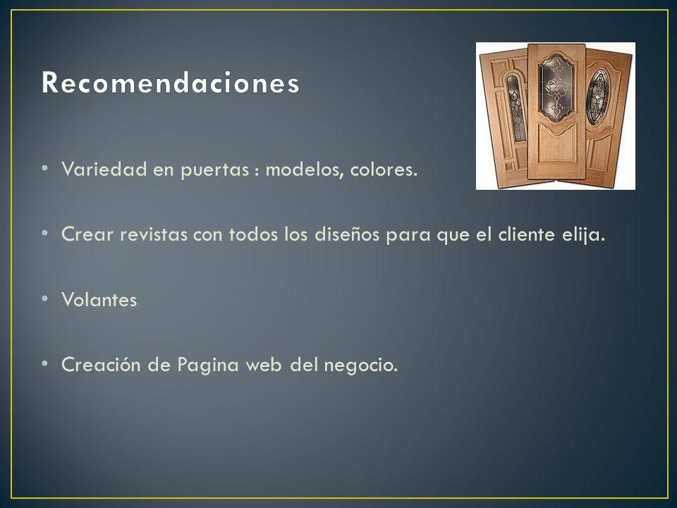 Recomendaciones Variedad en puertas : modelos, colores.