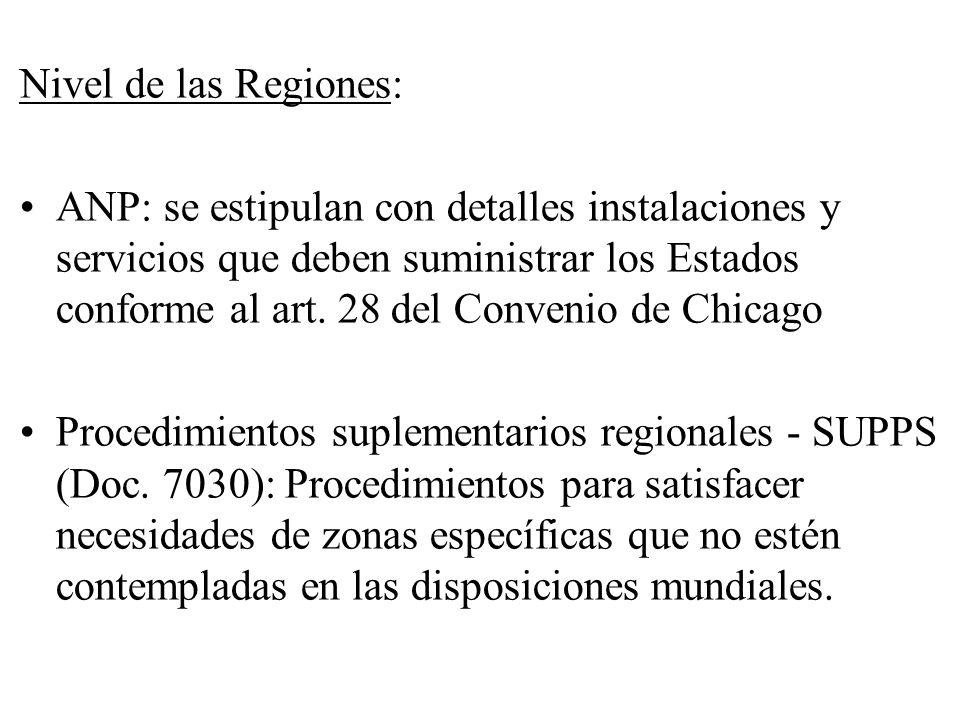 Nivel de las Regiones: