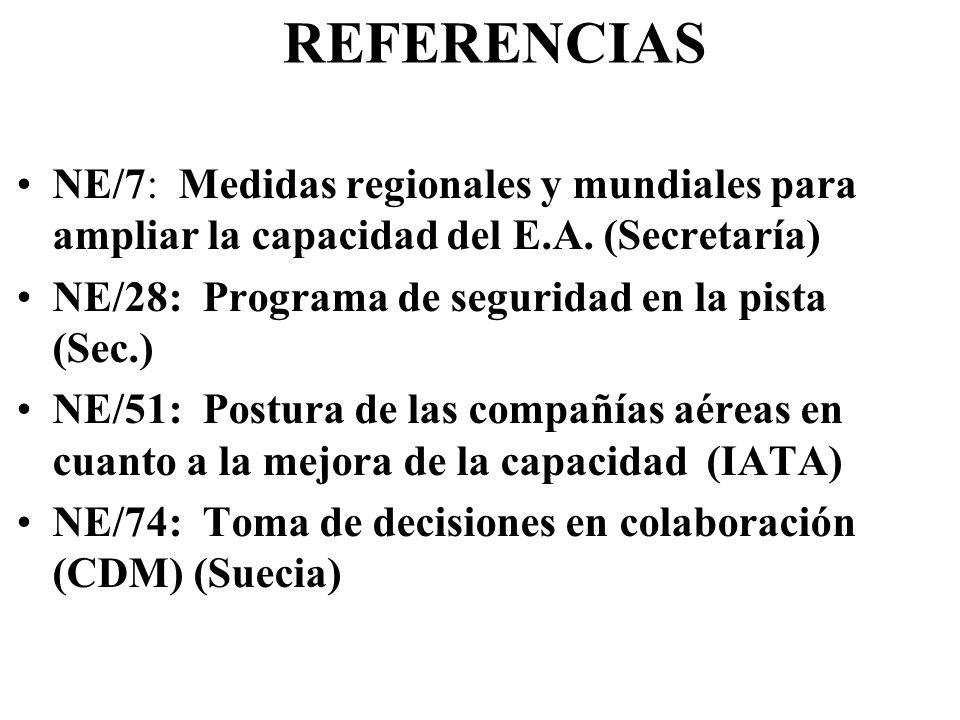 REFERENCIAS NE/7: Medidas regionales y mundiales para ampliar la capacidad del E.A. (Secretaría) NE/28: Programa de seguridad en la pista (Sec.)