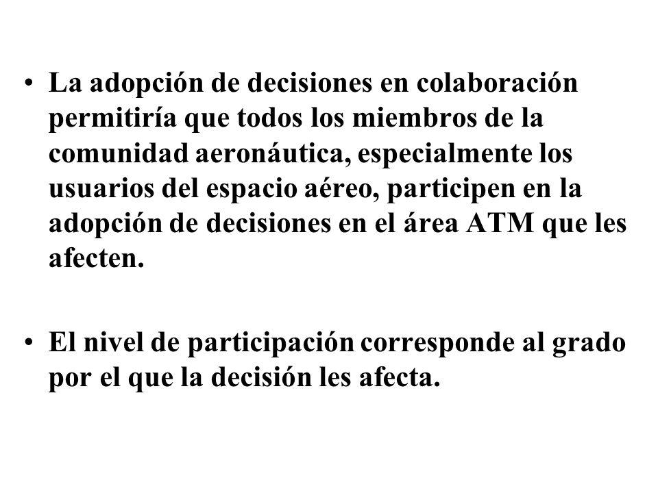 La adopción de decisiones en colaboración permitiría que todos los miembros de la comunidad aeronáutica, especialmente los usuarios del espacio aéreo, participen en la adopción de decisiones en el área ATM que les afecten.