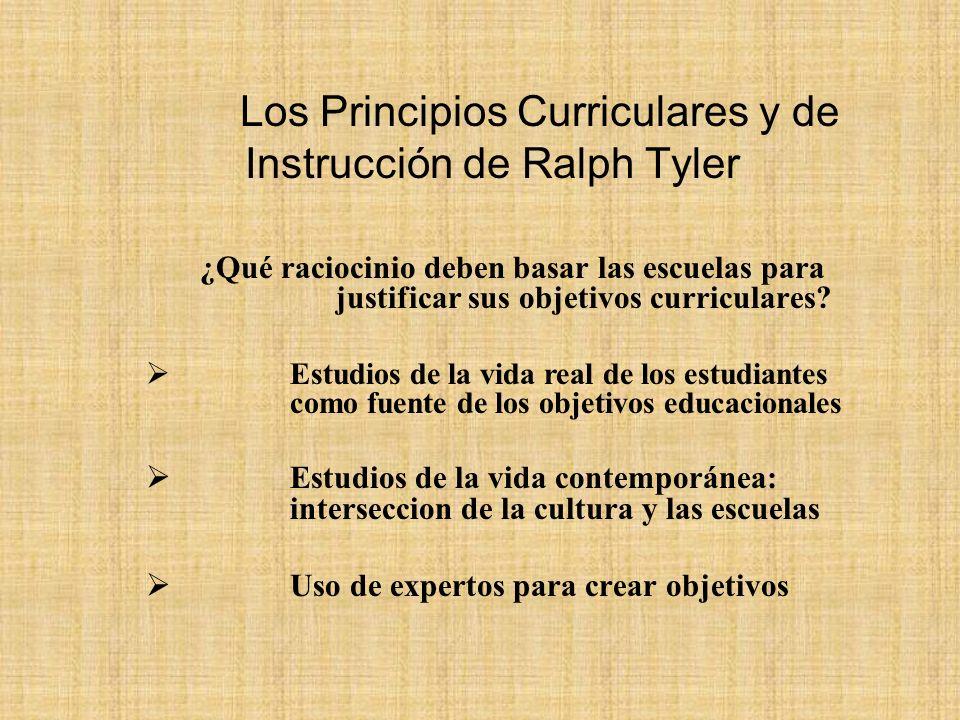 Los Principios Curriculares y de Instrucción de Ralph Tyler
