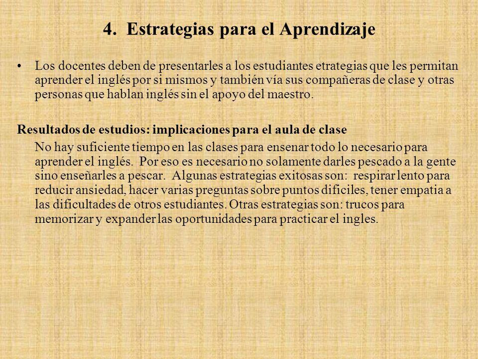 4. Estrategias para el Aprendizaje