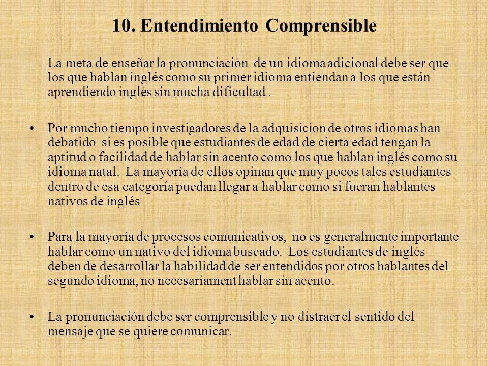 10. Entendimiento Comprensible