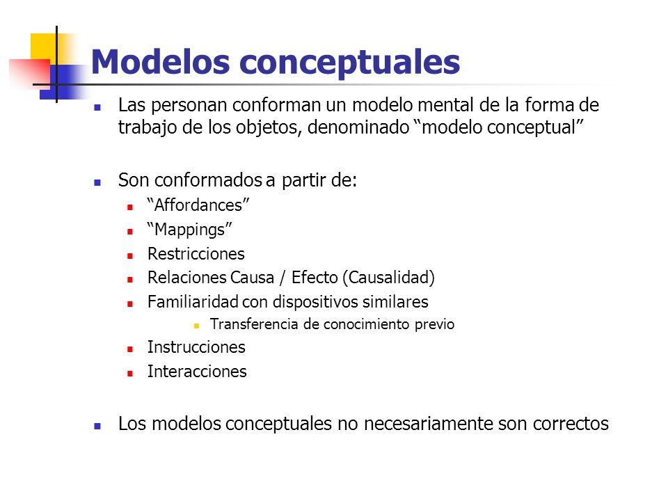 Modelos conceptuales Las personan conforman un modelo mental de la forma de trabajo de los objetos, denominado modelo conceptual