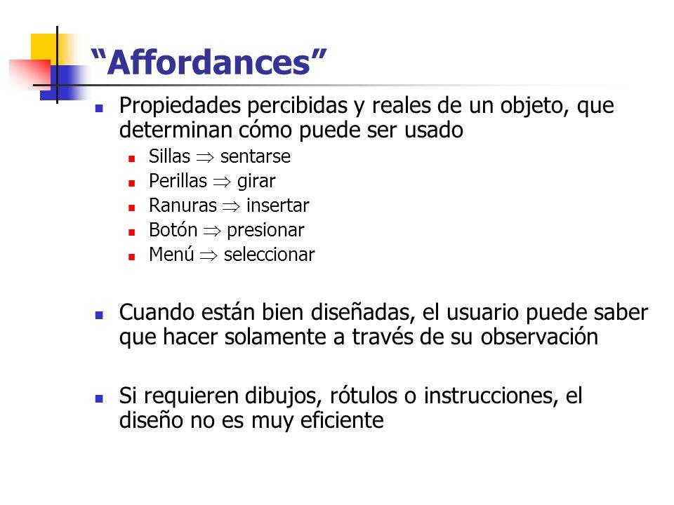 Affordances Propiedades percibidas y reales de un objeto, que determinan cómo puede ser usado. Sillas  sentarse.