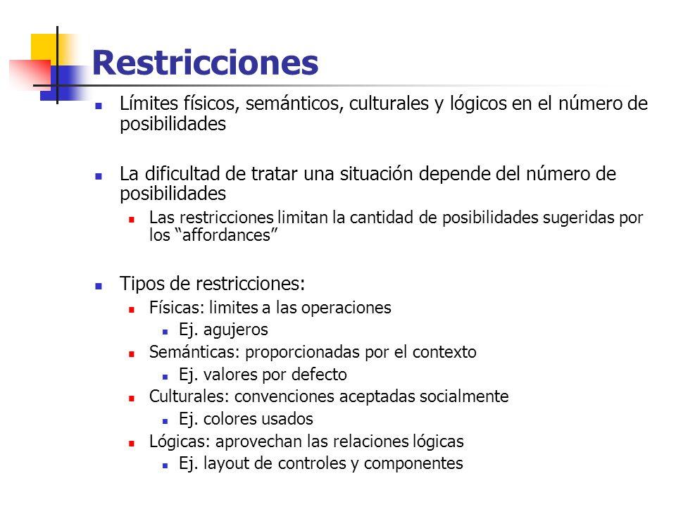 Restricciones Límites físicos, semánticos, culturales y lógicos en el número de posibilidades.
