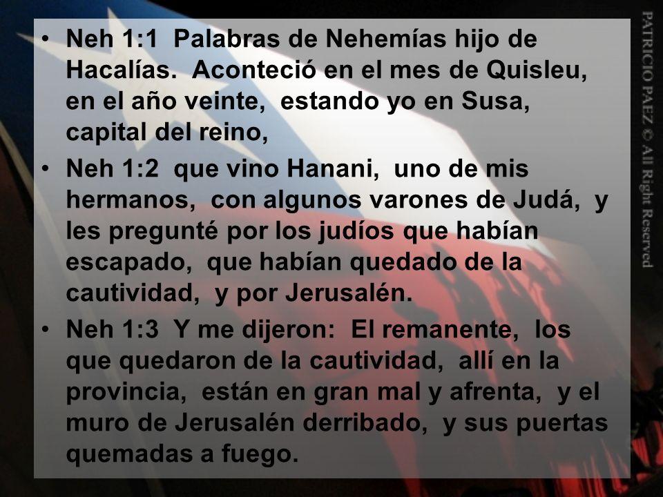 Neh 1:1 Palabras de Nehemías hijo de Hacalías