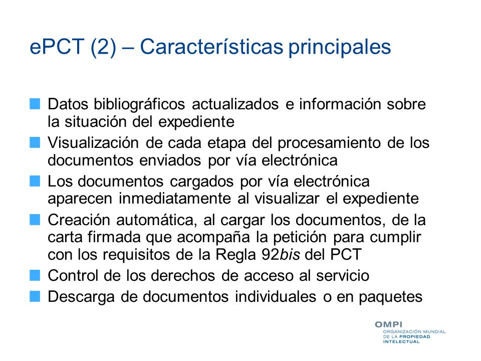 ePCT (2) – Características principales