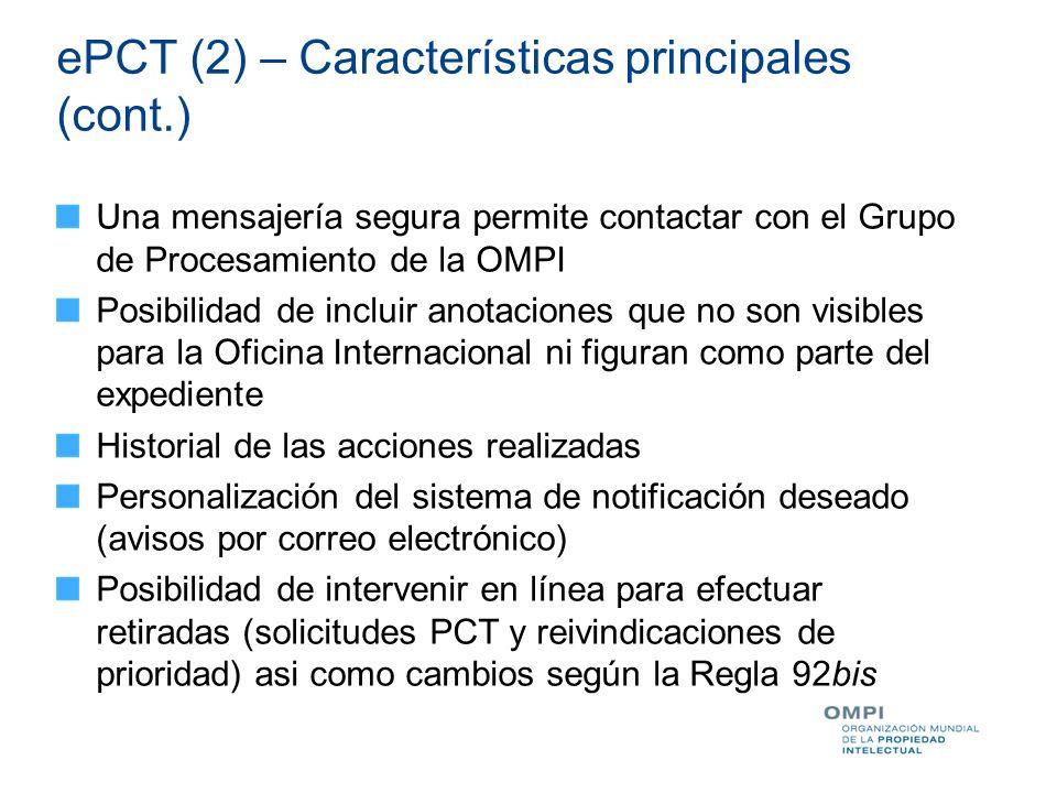 ePCT (2) – Características principales (cont.)