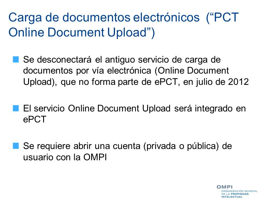 Carga de documentos electrónicos ( PCT Online Document Upload )