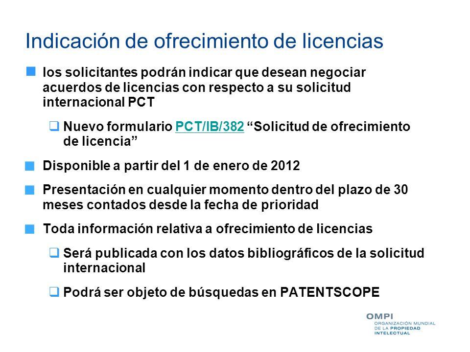 Indicación de ofrecimiento de licencias