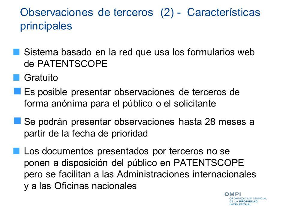 Observaciones de terceros (2) - Características principales