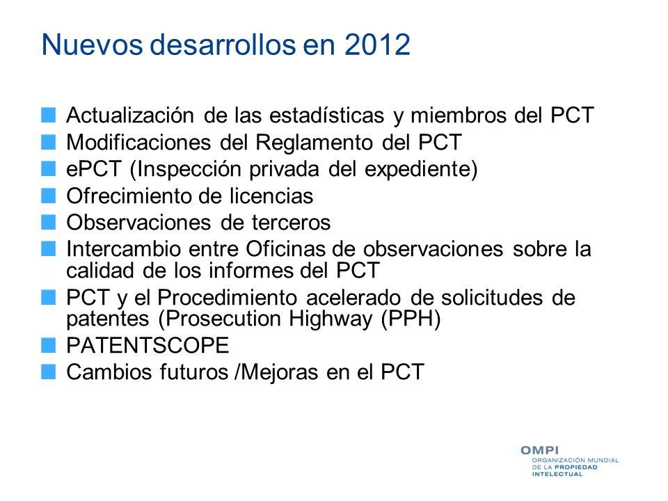 Nuevos desarrollos en 2012 Actualización de las estadísticas y miembros del PCT. Modificaciones del Reglamento del PCT.