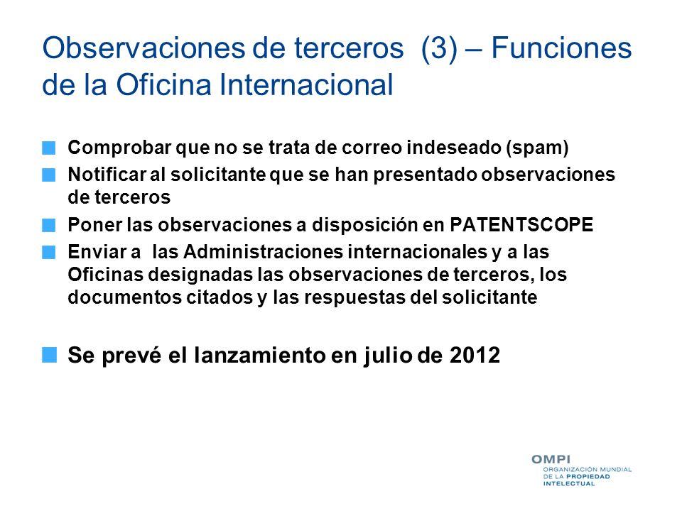 Observaciones de terceros (3) – Funciones de la Oficina Internacional