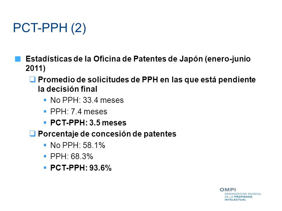 PCT-PPH (2) Estadísticas de la Oficina de Patentes de Japón (enero-junio 2011)