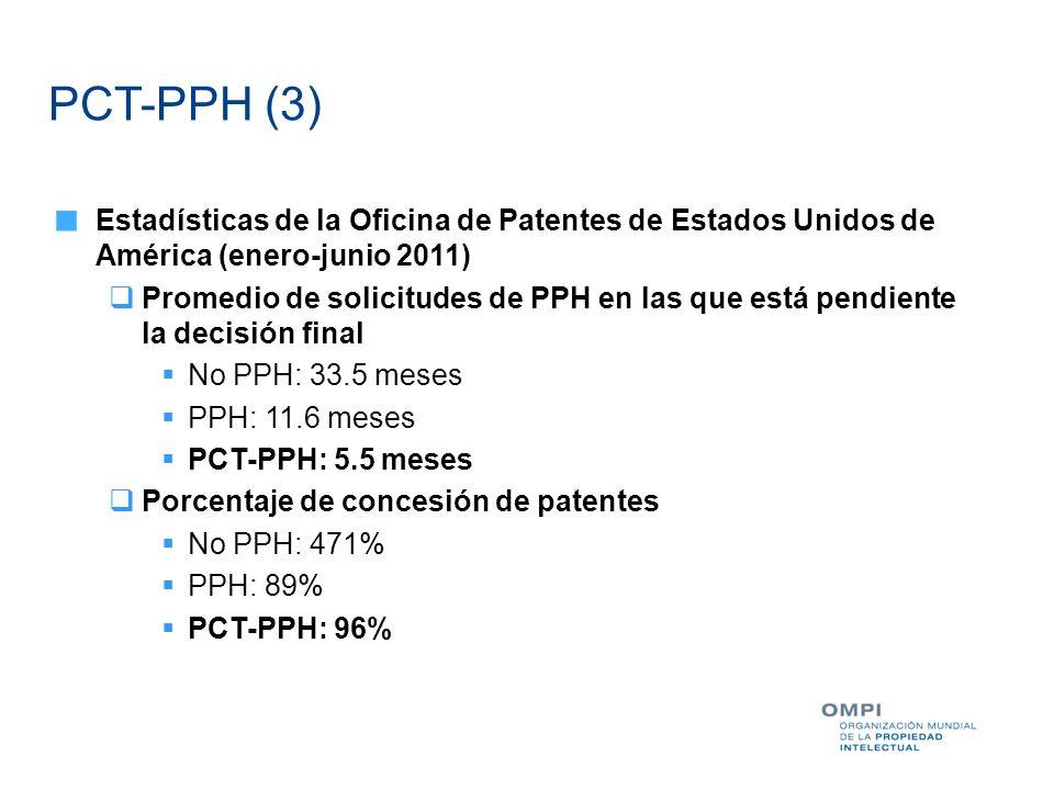PCT-PPH (3) Estadísticas de la Oficina de Patentes de Estados Unidos de América (enero-junio 2011)