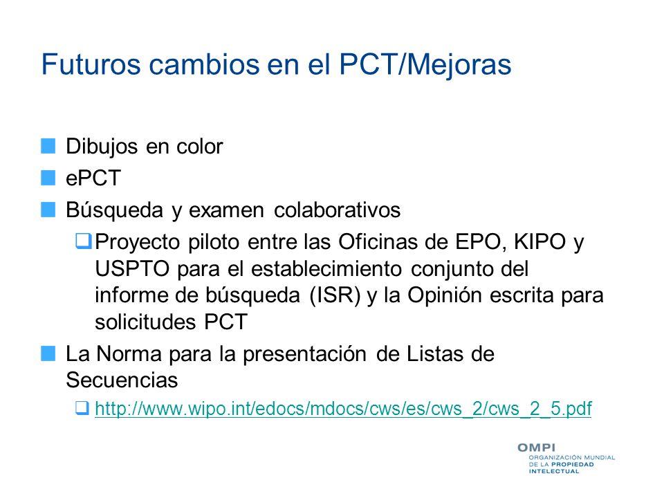 Futuros cambios en el PCT/Mejoras