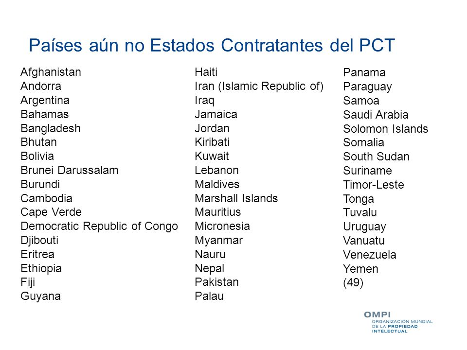 Países aún no Estados Contratantes del PCT