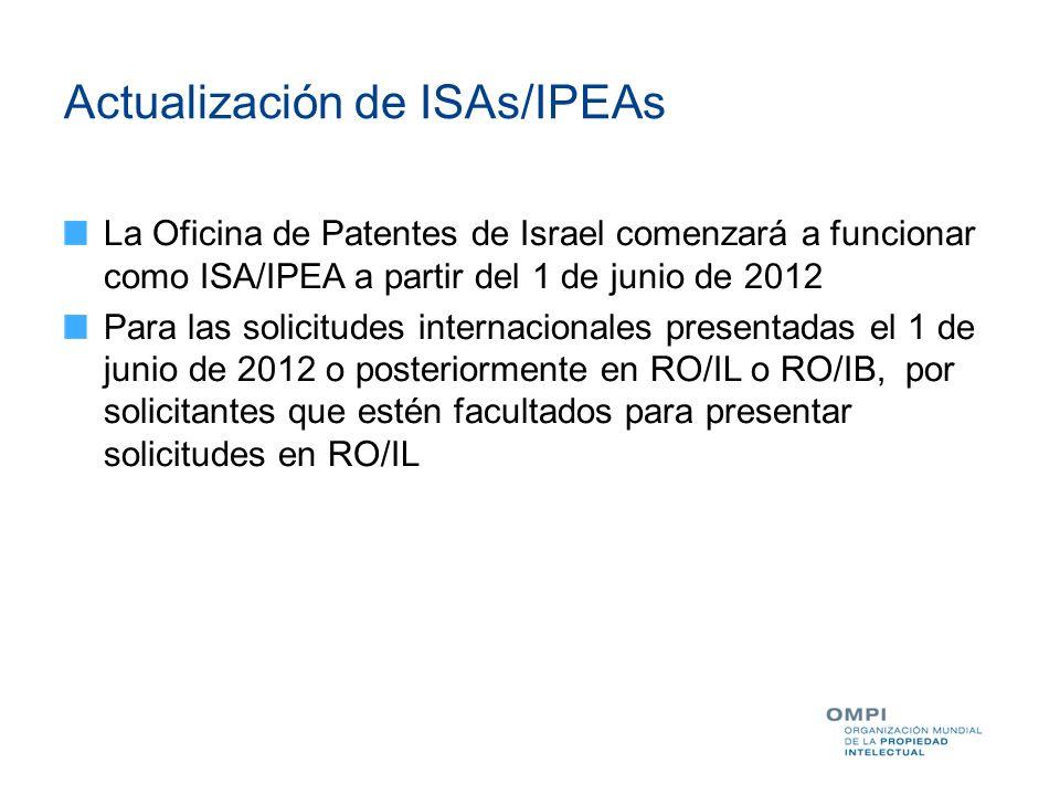 Actualización de ISAs/IPEAs