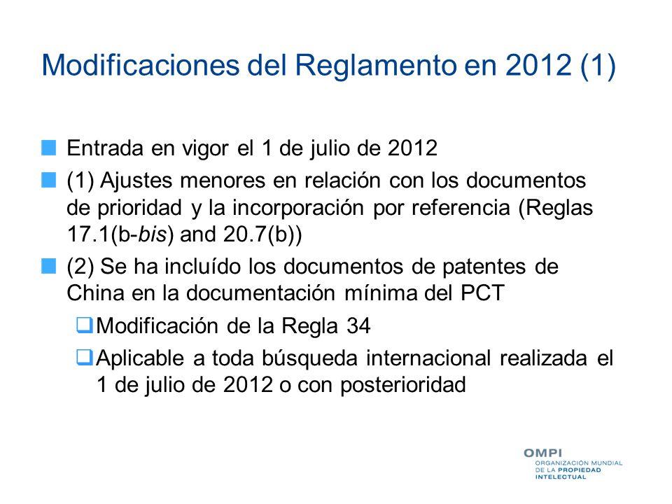 Modificaciones del Reglamento en 2012 (1)