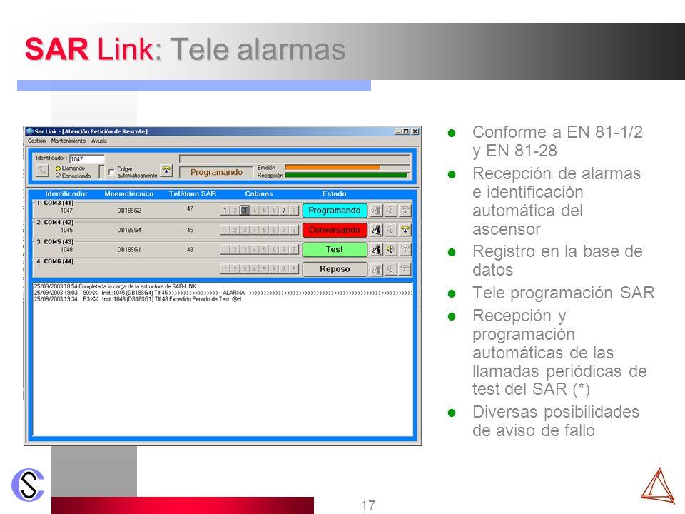 SAR Link: Tele alarmas Conforme a EN 81-1/2 y EN 81-28