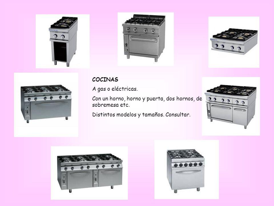 COCINAS A gas o eléctricas. Con un horno, horno y puerta, dos hornos, de sobremesa etc.