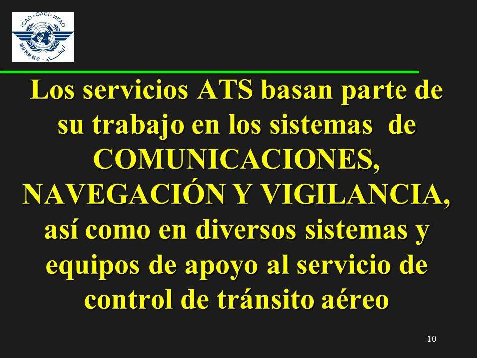 Los servicios ATS basan parte de su trabajo en los sistemas de COMUNICACIONES, NAVEGACIÓN Y VIGILANCIA, así como en diversos sistemas y equipos de apoyo al servicio de control de tránsito aéreo