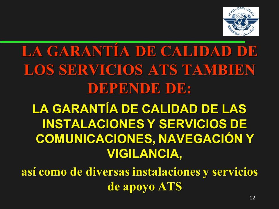 LA GARANTÍA DE CALIDAD DE LOS SERVICIOS ATS TAMBIEN DEPENDE DE: